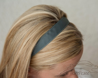 "No-Slip Headband Solid Flannel Grey Grosgrain 3/8"", 5/8"", 7/8"" or 1.5"""