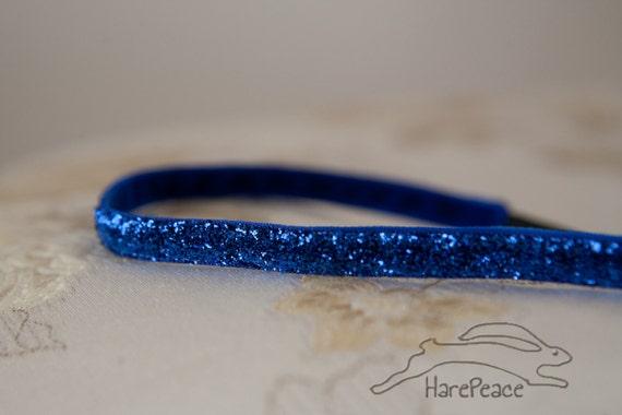 "No Slip Glitter Headband Solid Blue Skinny 3/8"" or 5/8"""