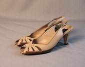 Vintage Nude Taupe Leather Peep Toe Slingback Heels // Made in Italy // 8 8.5