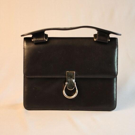 Vintage 1960's Smooth Black Handbag // Saks Fifth Avenue // Mad Men