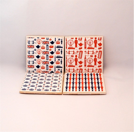 London Themed Ceramic Coaster Set in Red, White and Blue-READY TO SHIP