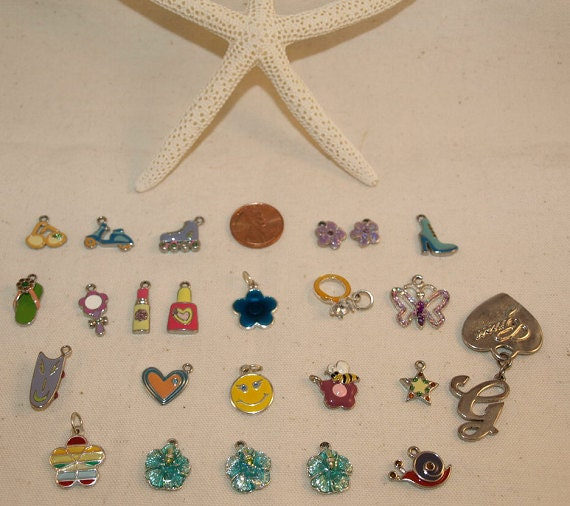 DESTASH CLEARANCE  24 Colorful Charms, Some Like New, Some Used