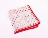 vintage silk hanky, dots red and white