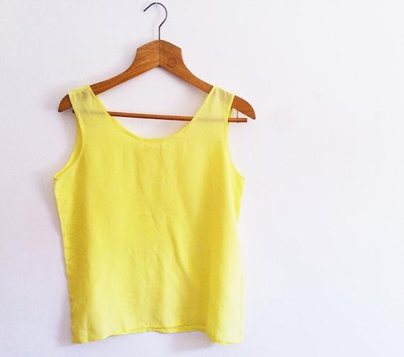 Vintage Silk sleeveless blouse, Yellow size L
