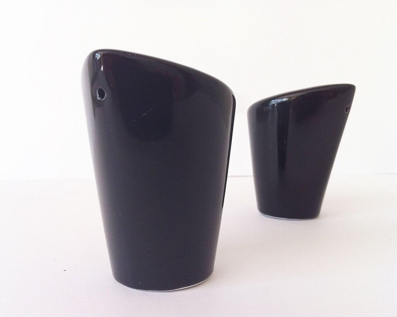 Salt And Pepper Shakers Black Ceramic Set