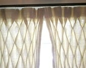 Burlap Smocked Curtains Two Panels Special Deal in Ivory or Natural