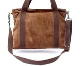 Upcycled Tote Bag / Messenger Bag in Rust Brown Suede Leather