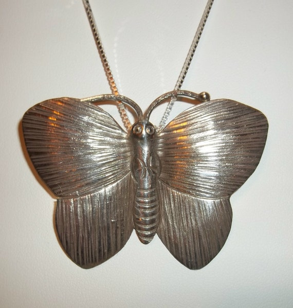 large Hill Tribes silver butterfly pendant