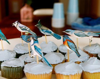 blue bird cupcake toppers - set of 15