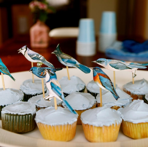 blue bird cupcake toppers