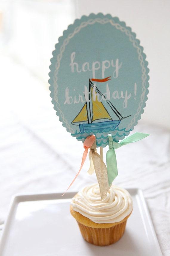 nautical baby boy birthday cake topper