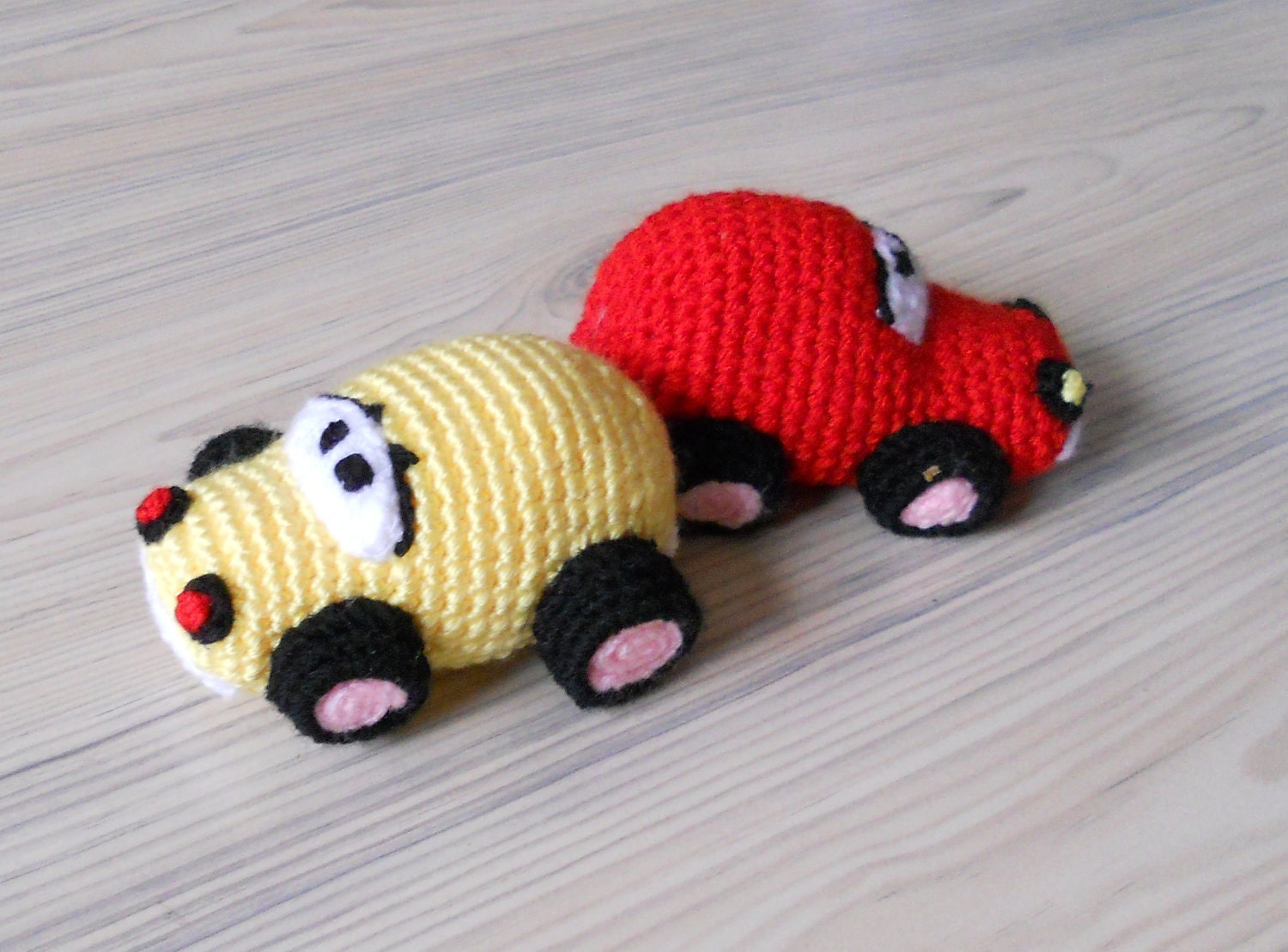 Crochet Toys : Crochet car baby toys red car yellow car baby by jelenateperik