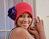 Felt Cloche Red Crochet Flapper Hat