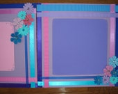 """Pastel Ribbons & Flowers Premade Scrapbook Pages 12"""" x 12"""""""
