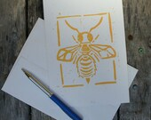 Bee Card - Linocut on 50/50 Sugar Cane & PCW Recycled Paper