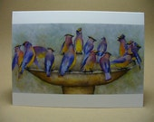 Watercolor Cedar Waxwing Bird Greeting Card