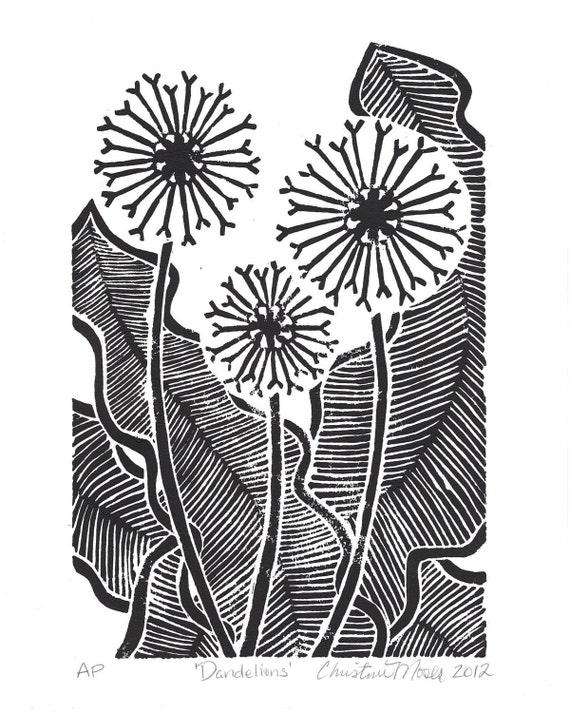 Linoleum Block Print - 'Dandelions' - Limited Edition Original Print