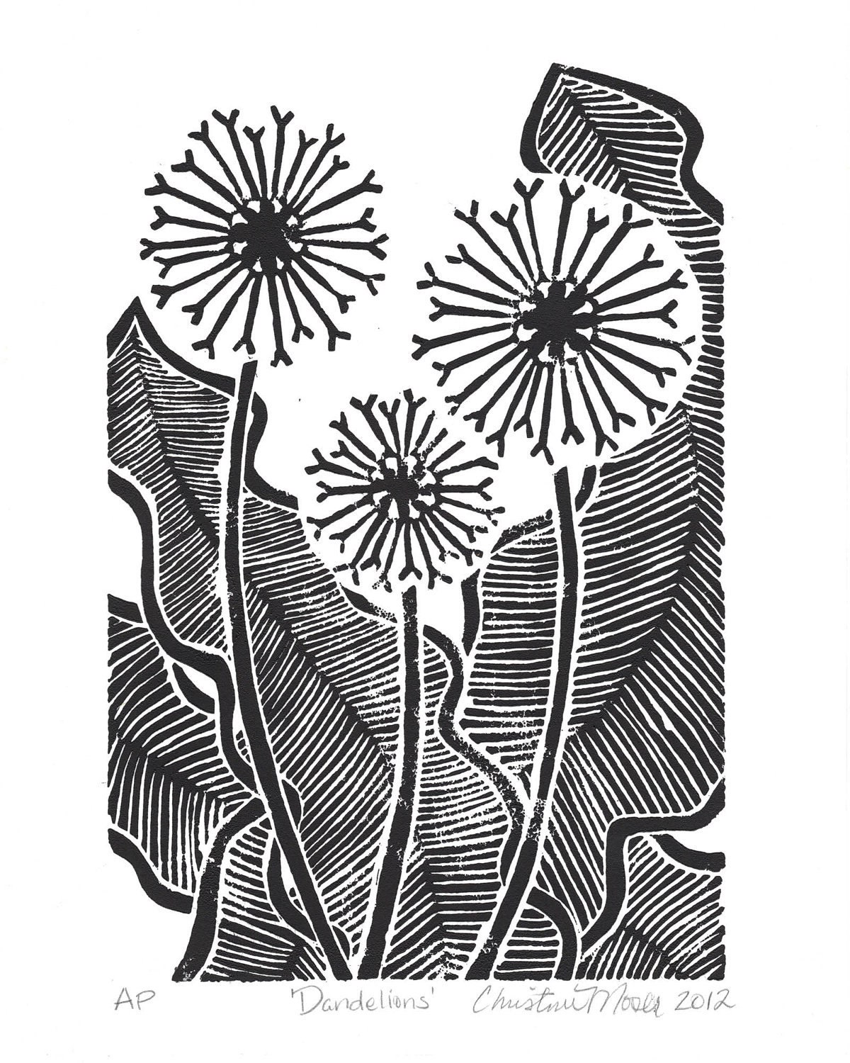 linoleum block print 39 dandelions 39 limited edition. Black Bedroom Furniture Sets. Home Design Ideas