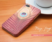 iphone 4 case, case for Iphone 4 Blackberry mobile Case handmade: Peacock feather pattern