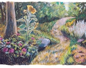 Garden Path - Art print of Oil Pastel