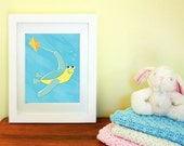 Sea Turtle Kid print -- Bright Colors series -- child room or nursery decor -- art for kids -- 8x10 print