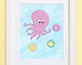 Octopus Kid print -- Pastel Series -- child's room or nursery -- art for kids -- cartoon illustration