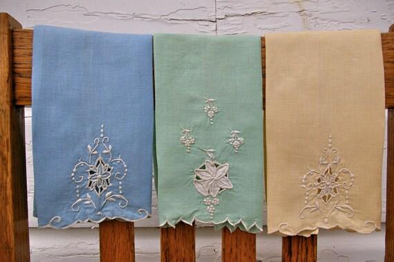 Vintage Antique Finger Towels Embroiderd Cutwork Whitework Blue Yellow Green Linen Set 3