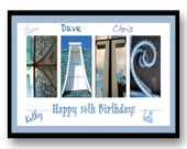Birthday Print to sign. Letters in Pictures by Letter Art Cafe. 17x11 inch print. Unframed
