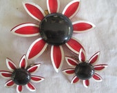 Red White Blue Enamel Vintage Flower Brooch and Earrings