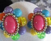 Vintage 70s Bead Mod  Colorful Flower Earrings