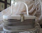 50s White  Lucite Party Purse Handbag