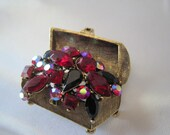 Reserved for AndreaRed  Rhinestone Treasure Chest  Brooch Pin