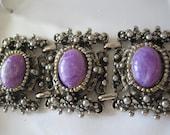 Vintage Lavender Wide Silvertone Bracelet