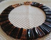 Faux Tortoiseshell Lucite Bib Vintage Necklace