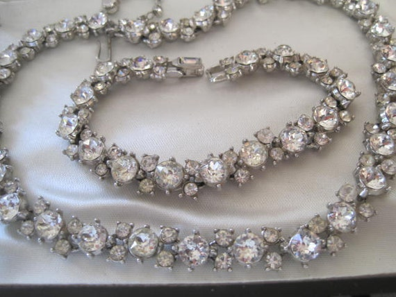 Sparkling Vintage Trifari Ice Clear Rhinestone Necklace Bracelet Set Wedding