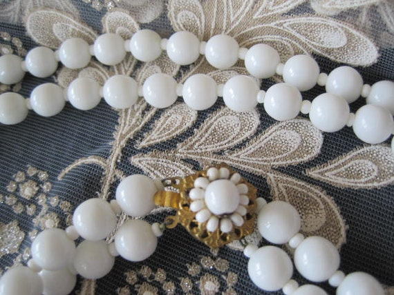 Miriam Haskell signed White Milk Glass 2 strand Necklace Wedding