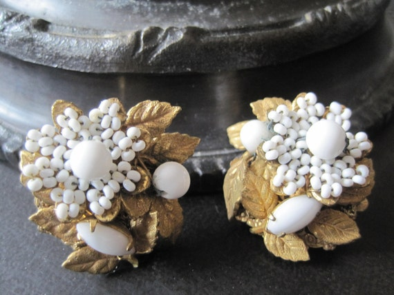 Miriam Haskell signed  White Milk Glass Cluster Earrings Wedding