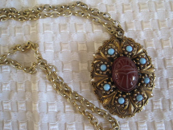 Vintage Scarab Turquoise Necklace Pendant