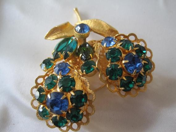 Vintage Blue Green Rhinestone  Brooch