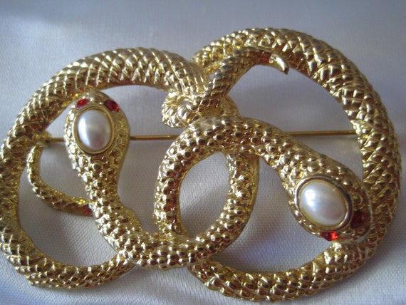 Vintage Faux Pearl Medusa Snake Brooch