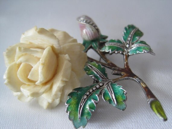 Vintage  PreBan Ivory Sterling Rose Brooch