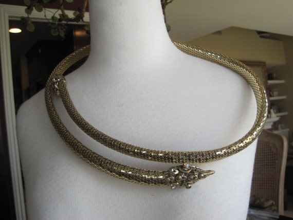 Whiting Davis Style Jeweled Head Snake Mesh Belt