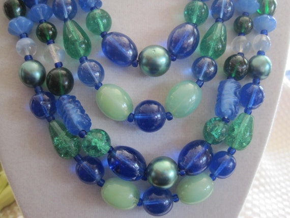 Vintage Blue Art Glass 4 Strand Necklace