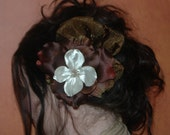 Chocolate Brown Wedding Fascinator for Bridal Party Head Piece with Feather accents. Bronze Tulle accents all on an alligator clip. Brooch