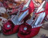 Custom Julia ruby red wedge heels perfect for wedding bridal party.  Shoes are custom adorned for you. Size 7M/9M