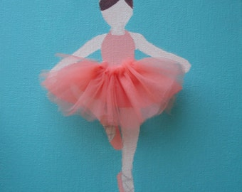 READY TO SHIP! Ballerina Painting with Tutu/ nursery/ baby girl/ girls room