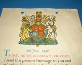 1946 George VI Victory Celebration Certificate to the Boys and Girls at School & Important War Dates
