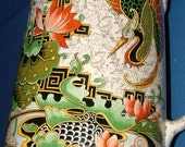 1920's Thomas Forester Phoenix Ware Japanese Garden Jug with Dragon, Koi Carp and Lily Pads