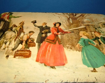 Huntley & Palmer Reading London Biscuit Tin of a Victorian Family Winter Scene