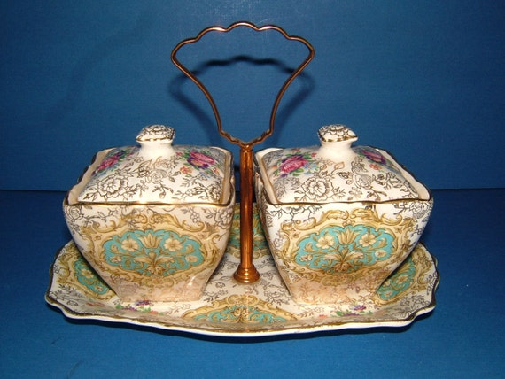 1920s James Kent Old Foley Chinarita 5651 Kendal Pattern Chintz Preserve Set on Stand